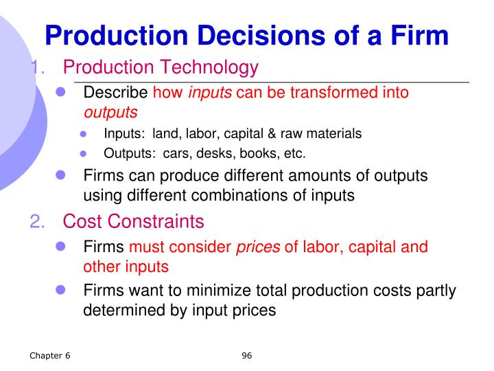 Production Decisions of a Firm