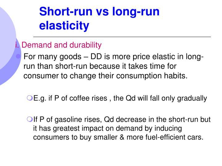 Short-run vs long-run elasticity