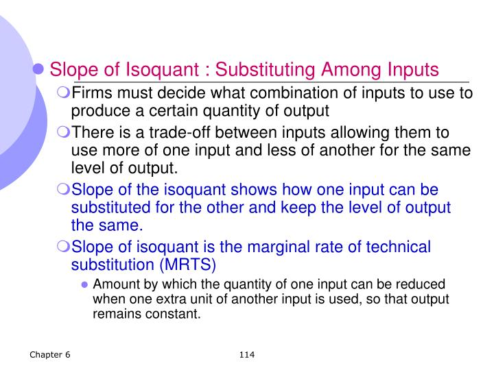 Slope of Isoquant : Substituting Among Inputs