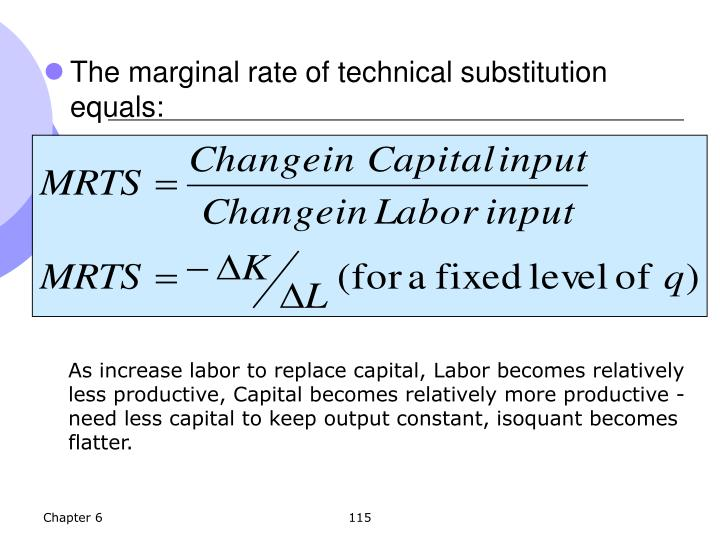 The marginal rate of technical substitution equals: