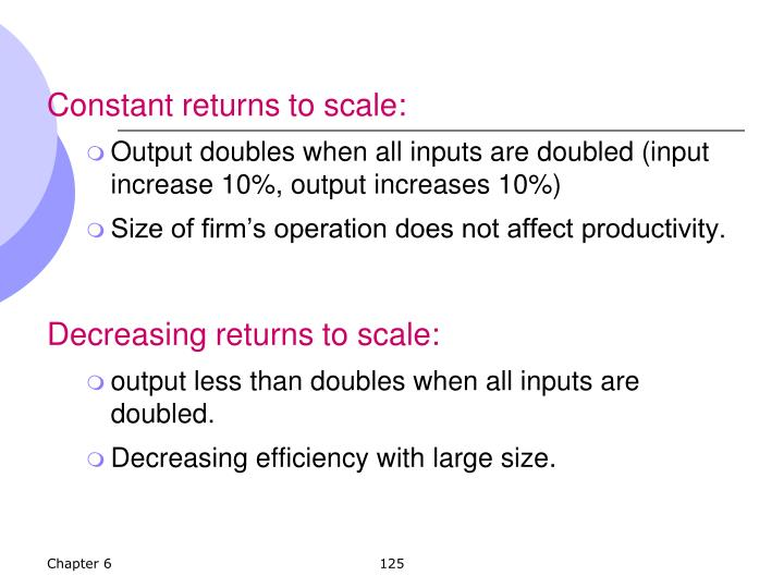 Constant returns to scale:
