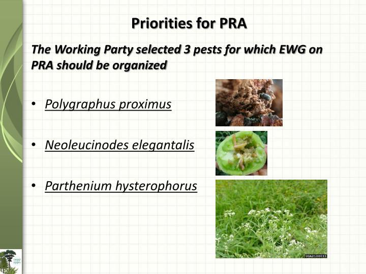 Priorities for PRA