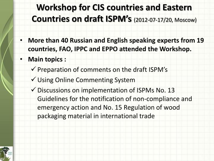 Workshop for CIS countries and Eastern Countries on draft ISPM's