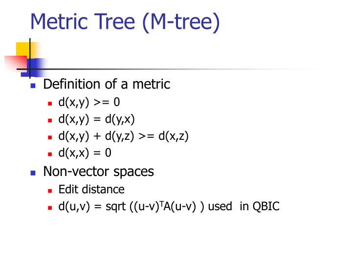 Metric Tree (M-tree)