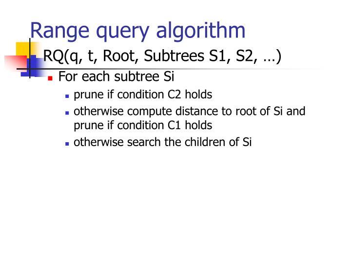 Range query algorithm