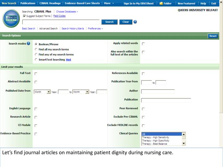 Let's find journal articles on maintaining patient dignity during nursing care.