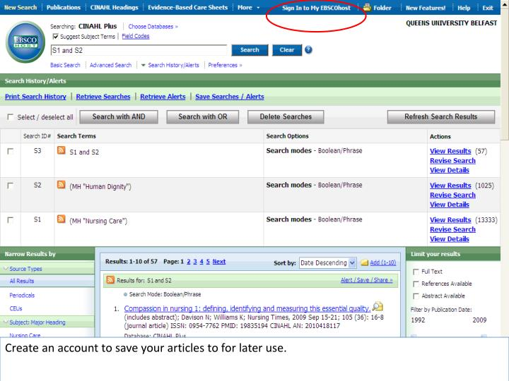 Create an account to save your articles to for later use.