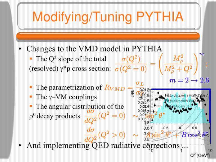Modifying/Tuning PYTHIA