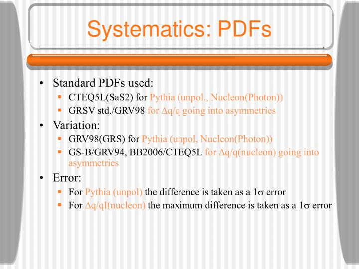 Systematics: PDFs