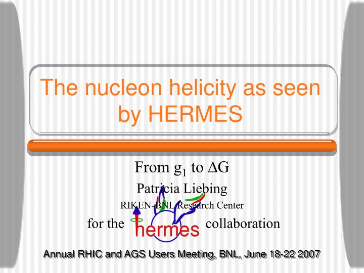 The nucleon helicity as seen by hermes