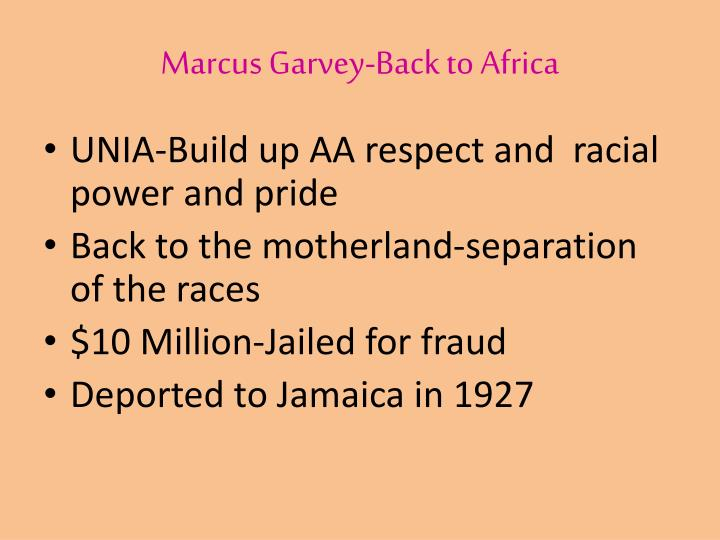 Marcus Garvey-Back to Africa