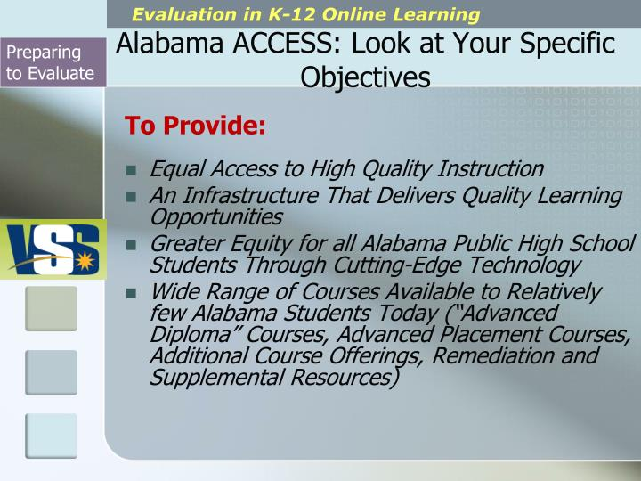 Alabama ACCESS: Look at Your Specific Objectives
