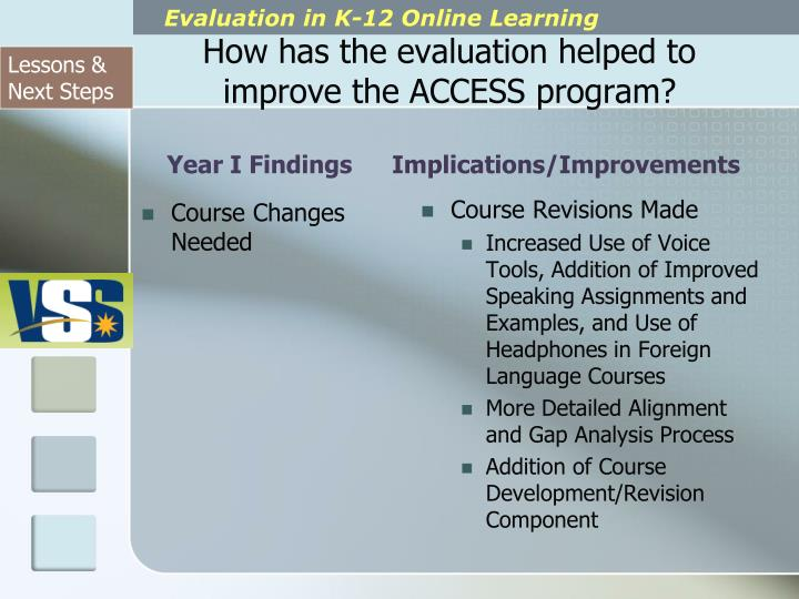 How has the evaluation helped to improve the ACCESS program?