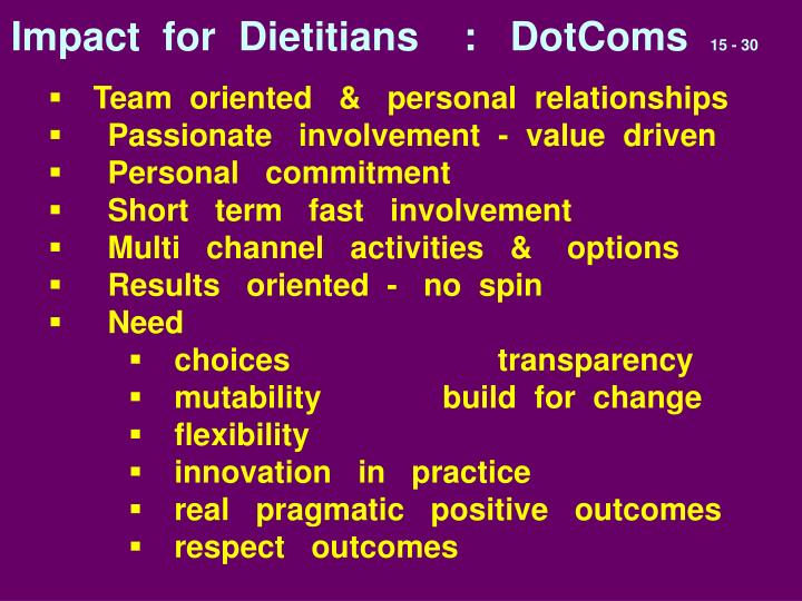 Impact  for  Dietitians    :   DotComs