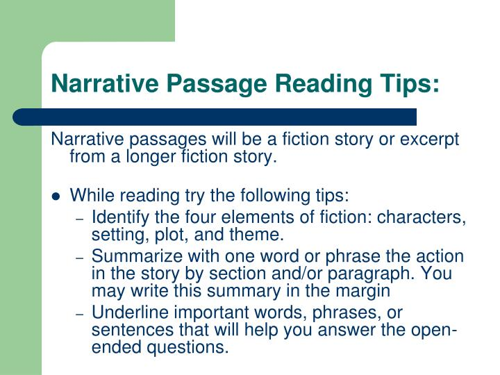 reading narrative essay Personal narrative essay models some may not be of high literary quality, but they do show personal transformation and reflection others may contain inappropriate subject matter for some communities.
