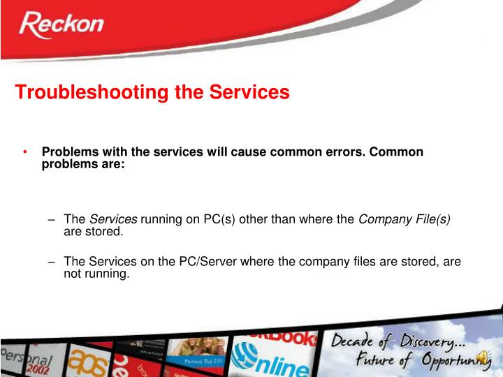 Troubleshooting the Services
