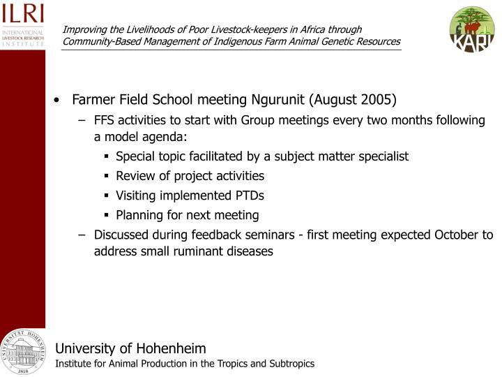 Farmer Field School meeting Ngurunit (August 2005)
