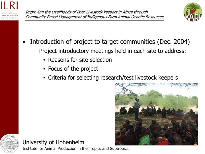 Introduction of project to target communities (Dec. 2004)