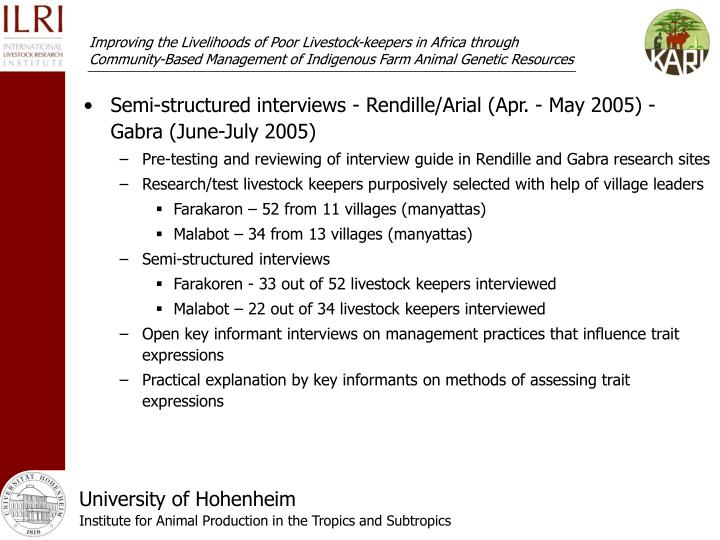 Semi-structured interviews - Rendille/Arial (Apr. - May 2005) - Gabra (June-July 2005)