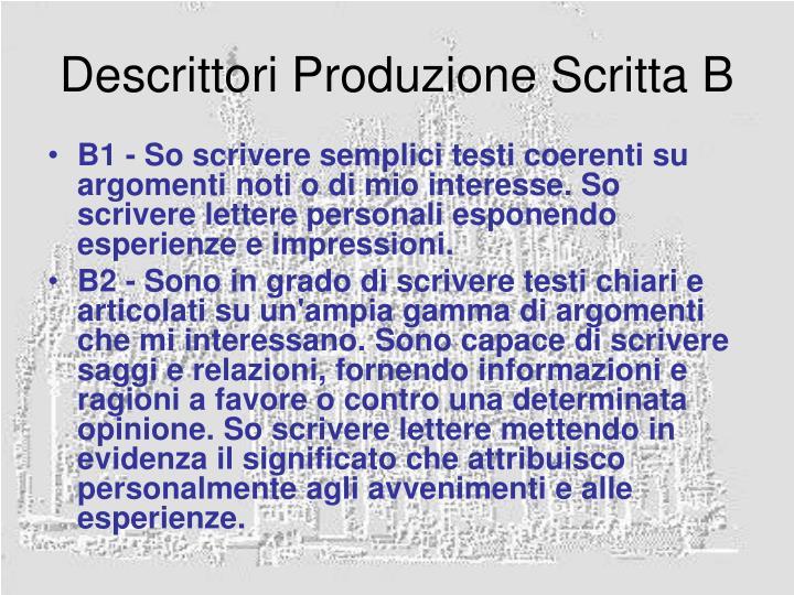 Descrittori Produzione Scritta B
