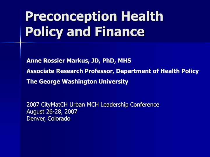 preconception health policy and finance n.
