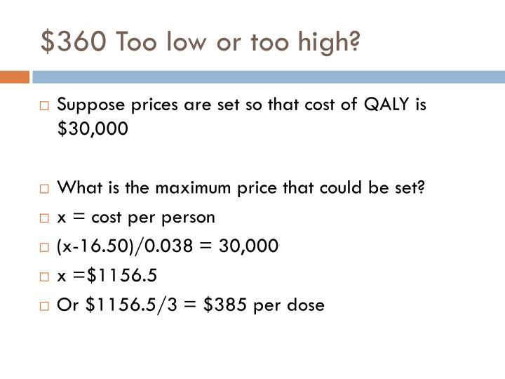 $360 Too low or too high?