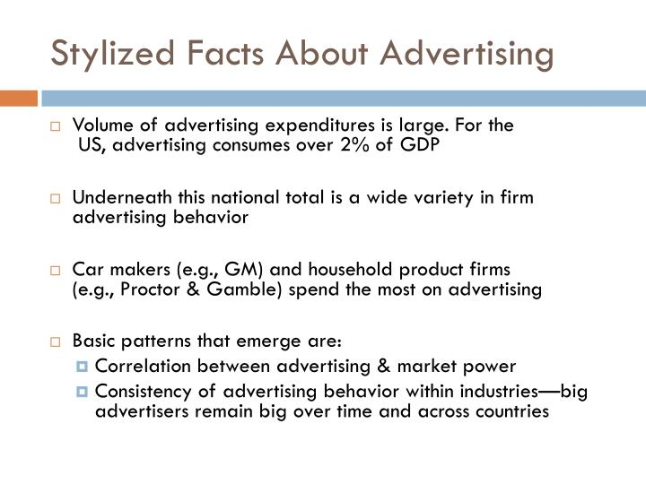 Stylized Facts About Advertising