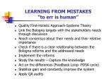 learning from mistakes to err is human