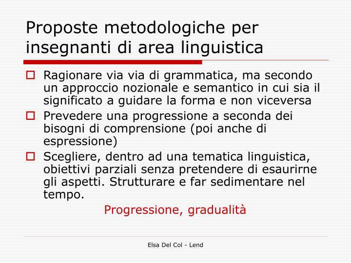 Proposte metodologiche per insegnanti di area linguistica
