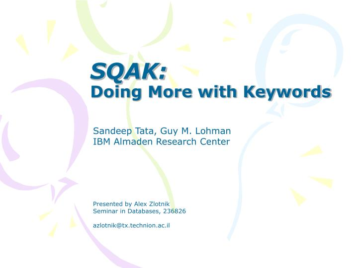 sqak doing more with keywords n.