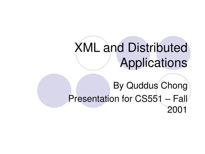 xml and distributed applications n.