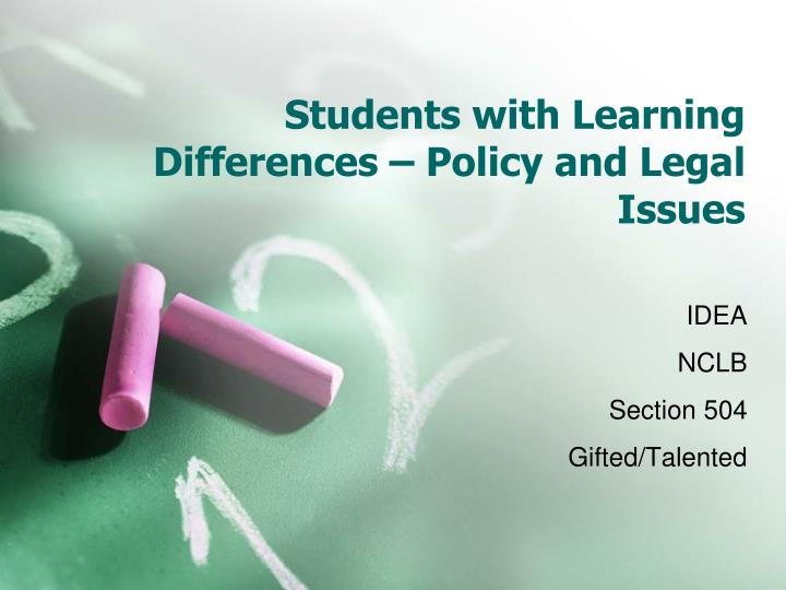 Students with learning differences policy and legal issues