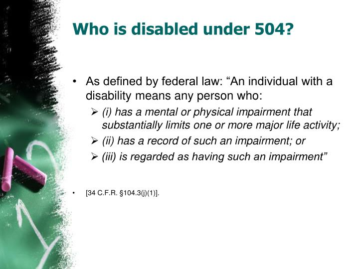 Who is disabled under 504?