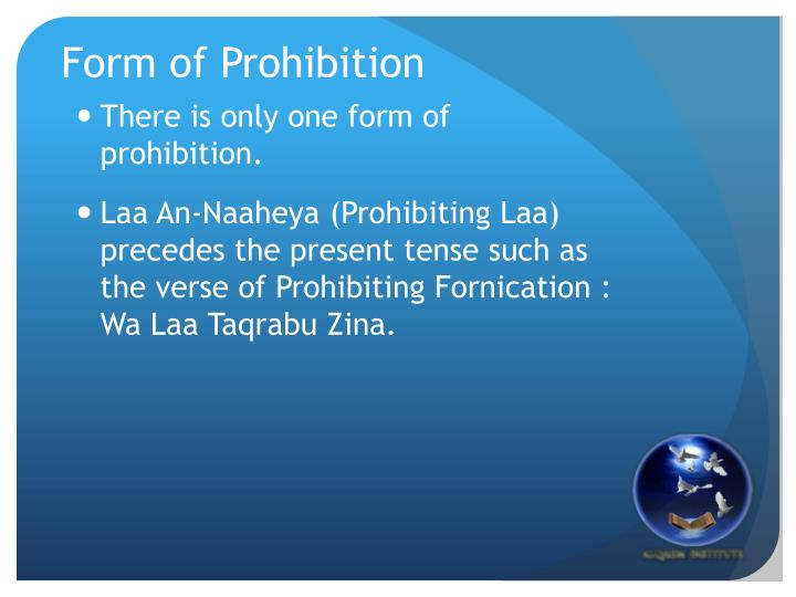Form of Prohibition