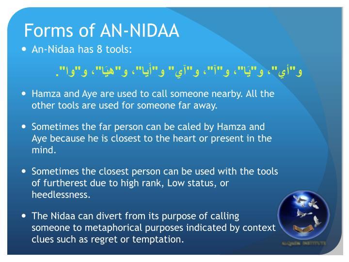 Forms of AN-NIDAA