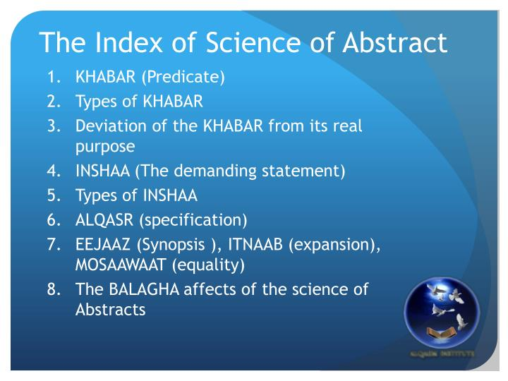 The Index of Science of Abstract