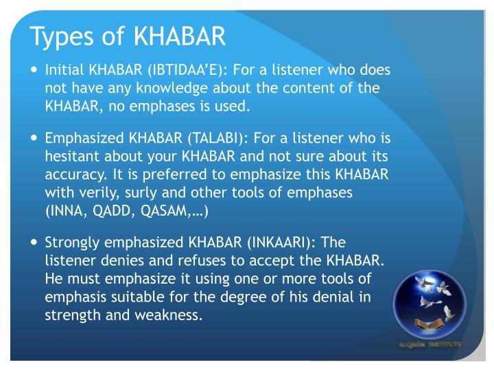 Types of KHABAR