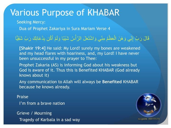 Various Purpose of KHABAR
