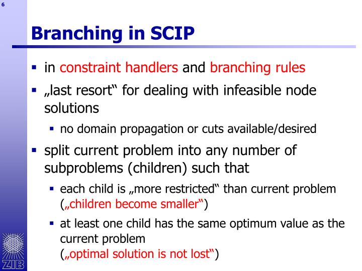 Branching in SCIP