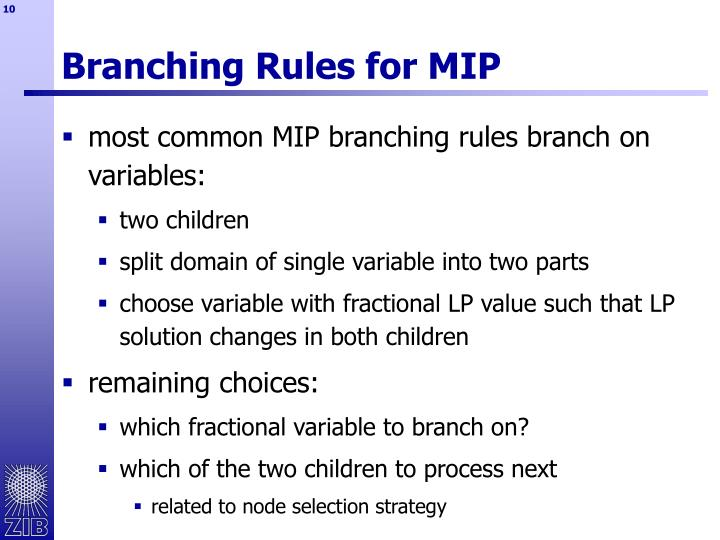Branching Rules for MIP