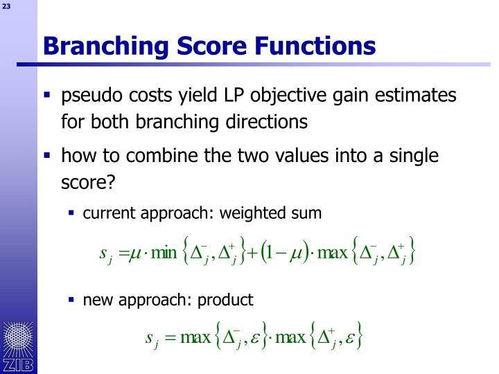 Branching Score Functions