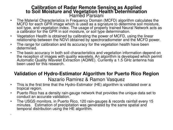 Calibration of Radar Remote Sensing as Applied