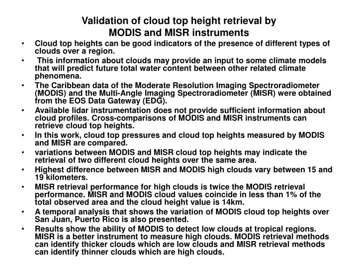 Validation of cloud top height retrieval by
