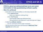 etics and qa i