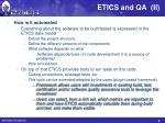 etics and qa ii