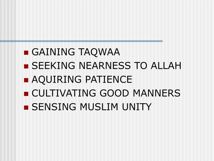 GAINING TAQWAA