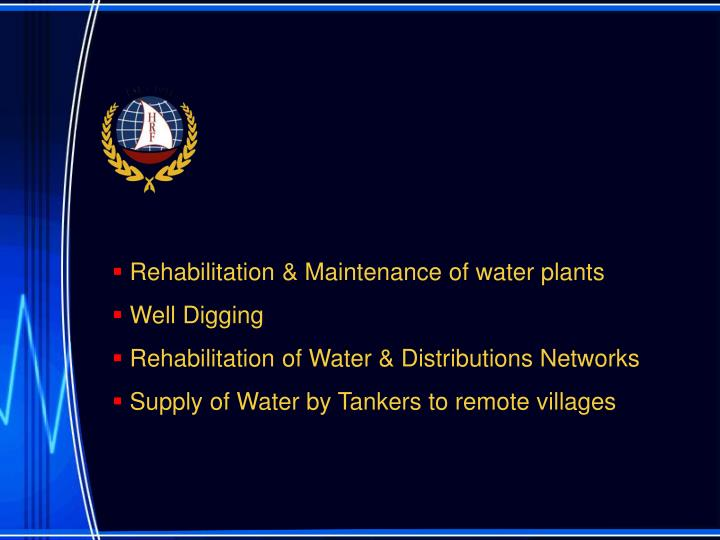 Rehabilitation & Maintenance of water plants