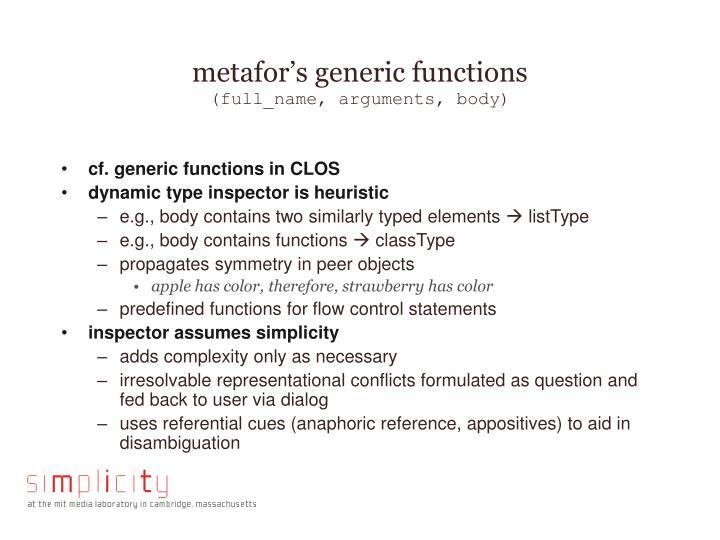 metafor's generic functions