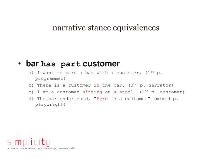 narrative stance equivalences