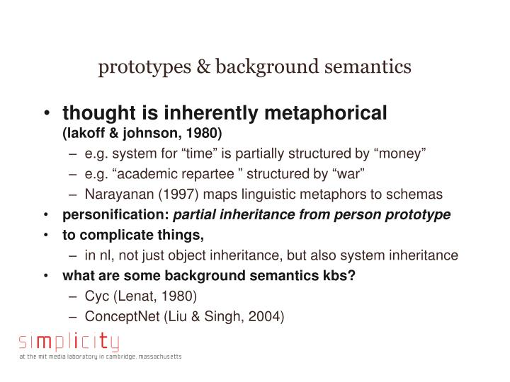 prototypes & background semantics